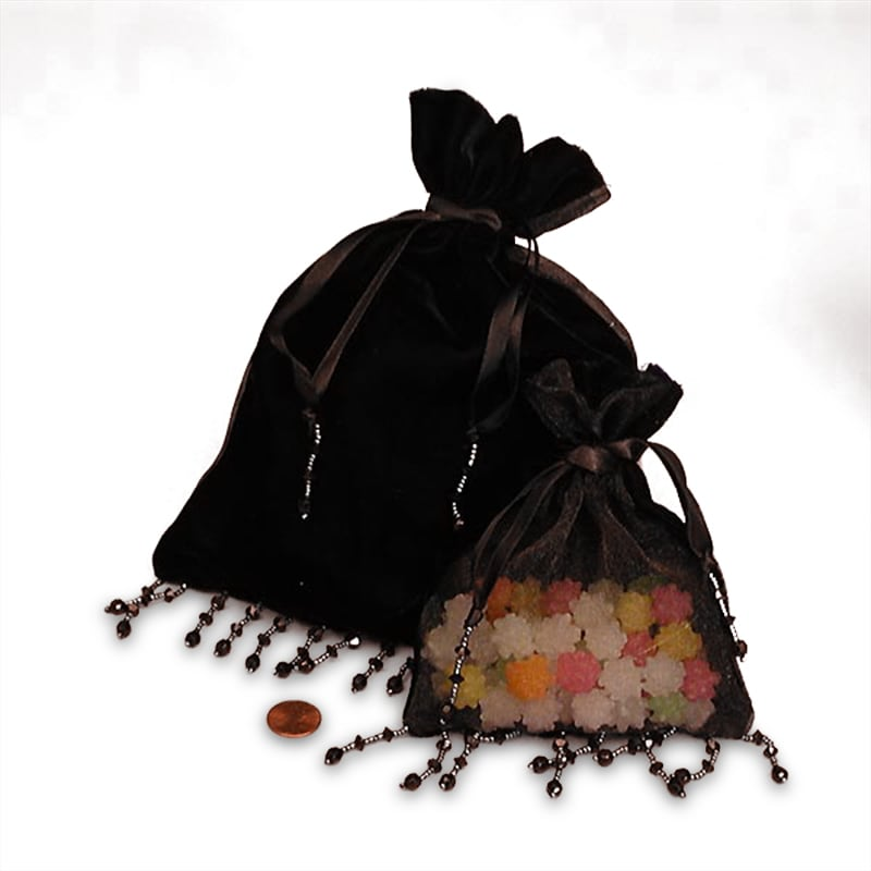 "Cord Black Beaded Velvet Bags - Fabric Bags by Paper Mart Width: 5"""" Height/Depth: 6"""""" 0989039"