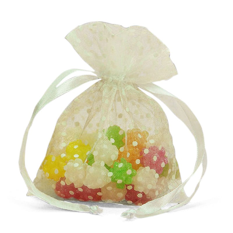 """White Polka Dots Sheer Bags 5"""""""" X 6-1/2"""""""" - Fabric Bags by Paper Mart"""" 09111310"""