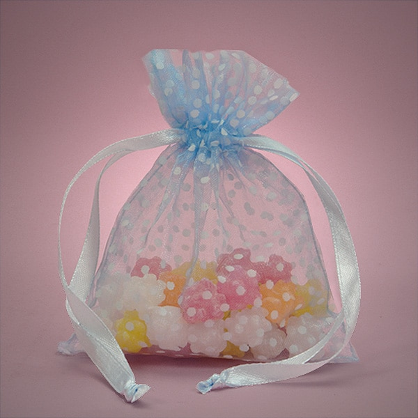 """Light Blue Polka Dots Favor Bags 6"""""""" X 9"""""""" - Fabric Bags by Paper Mart"""" 09111479"""