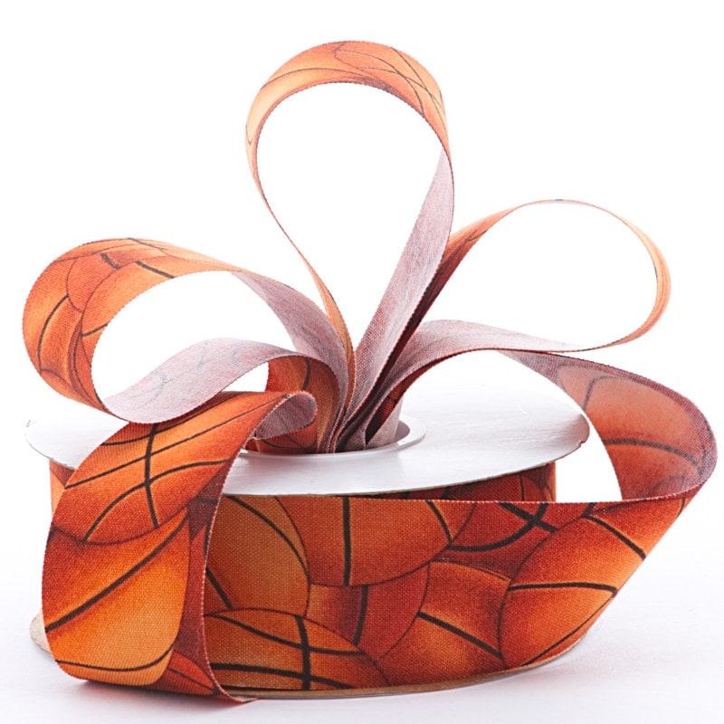 "1-3/8"""" X 10 Yards Orange/Black Basketball Cotton Ribbon - Ribbon by Paper Mart"" 48822013"