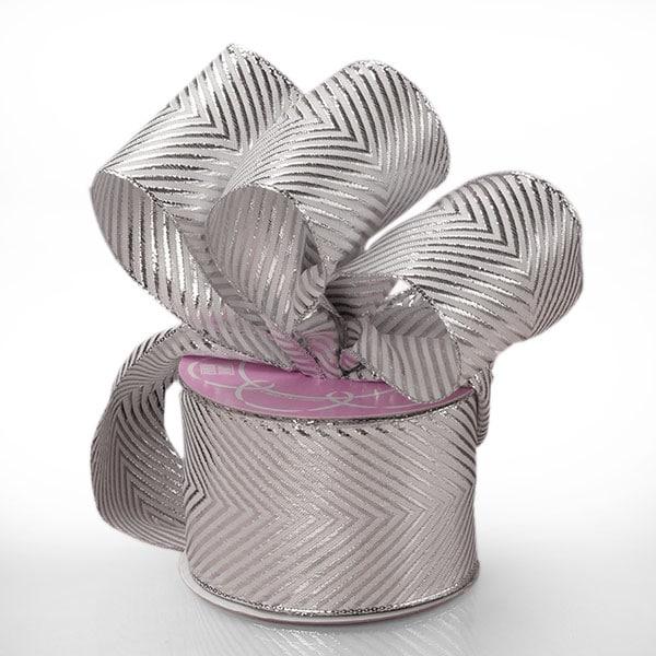 "Polyester Sparkle Silver Chevron Metallic Ribbon - 1-1/2"""" X 20 Yards - Polyethyleneester by Paper Mart"" 56134799"