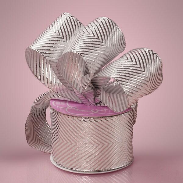 "Polyester Sparkle 1-1/2"""" X 20 Yards Silver Chevron Metallic Ribbon by Paper Mart"" 56134799"