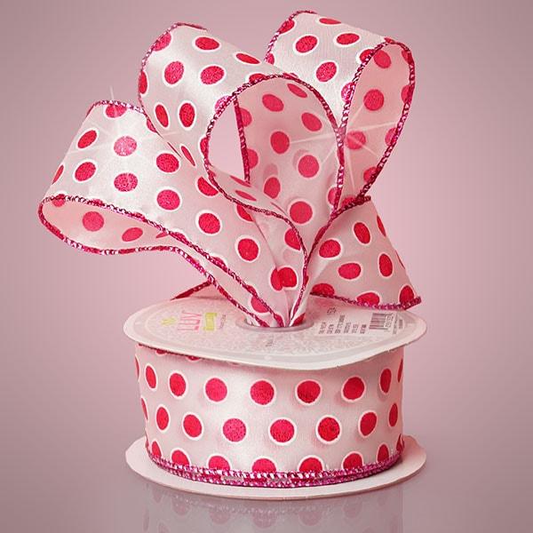 """Satin 1-1/2"""""""" X 10 Yards Hot Pink Polka Dot Ribbon by Paper Mart"""" 5754201"""