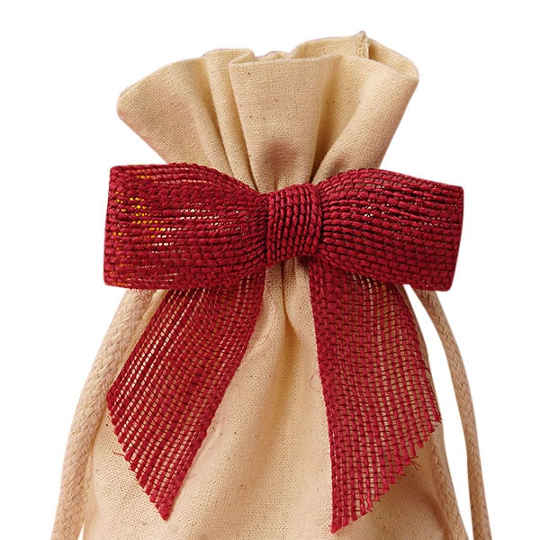 "7/8"""" Red Jute Pre-Tied Bow - Quantity: 12 - Ribbon Width: 3"""" Height/Depth: 7/8"""" by Paper Mart"" 5825303"