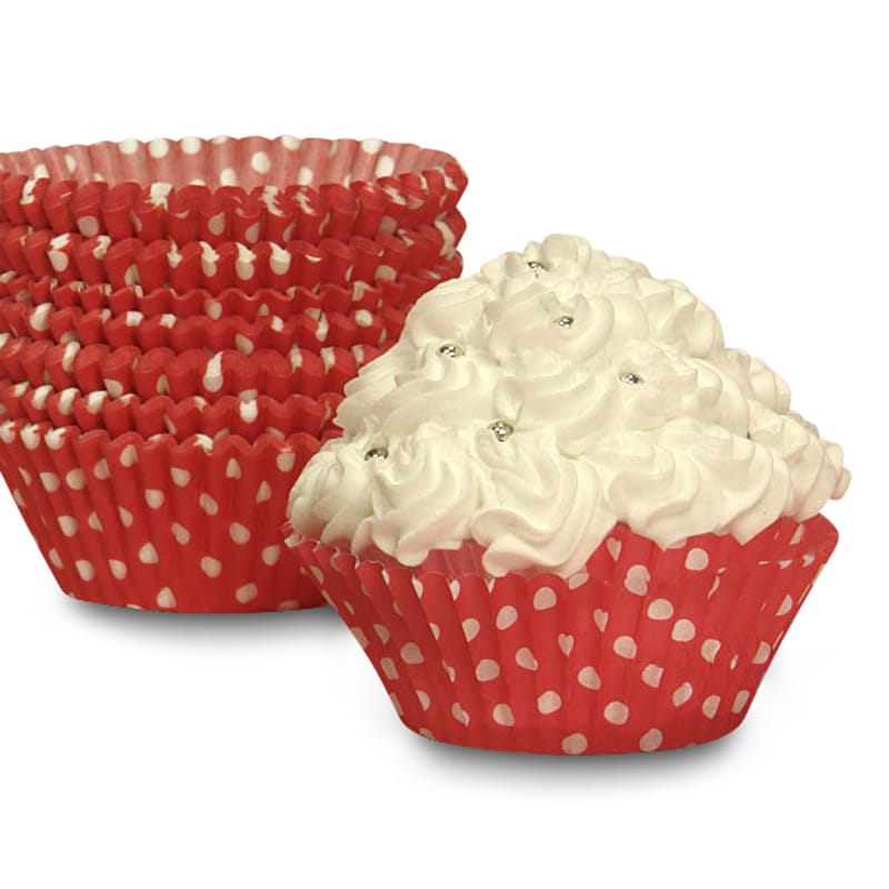 """Bakery Red Polka Dot Cupcake Baking Cups - 2"""""""" X 1-1/4"""""""" - Cardboard - Quantity: 200 Type: Polka Dot by Paper Mart"""" 85853330"""