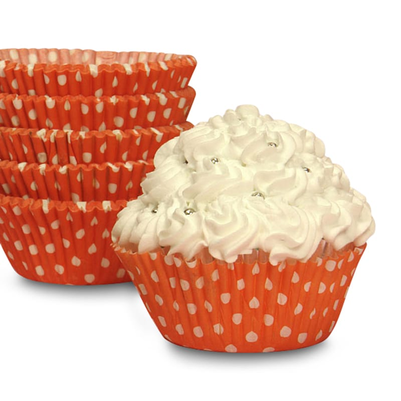 "Bakery Halloween Orange Polka Dot Cupcake Baking Cups - 2"""" X 1-1/4"""" - Cardboard - Quantity: 200 by Paper Mart"" 85853340"