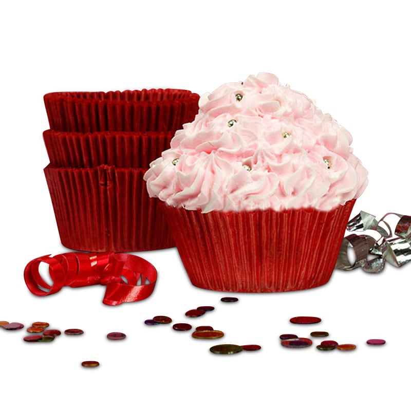 "Red Greaseproof Cupcake Baking Cup Glass Diameter - 2"""" - Quantity: 200 Height/Depth: 1 1/4"""" by Paper Mart"" 85853530"