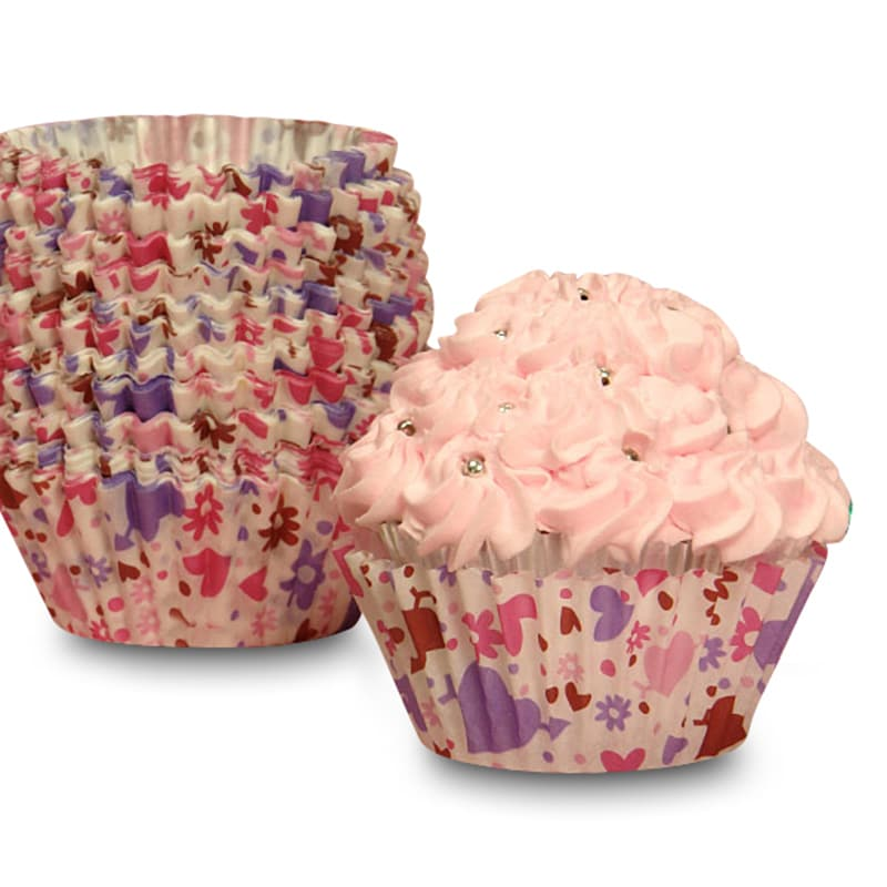 """Bakery Hearts and Flowers Cupcake Baking Cups - 2"""""""" X 1-1/4"""""""" - Cardboard - Quantity: 200 Type: Other Designs by Paper Mart"""" 85853924"""