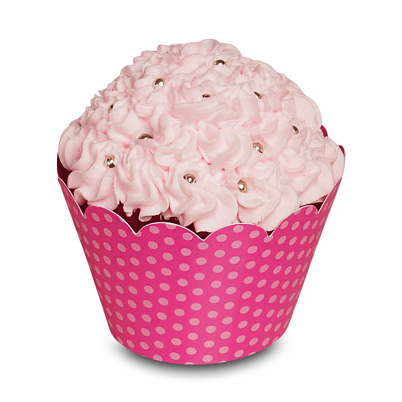 "Bakery Fuchsia Dots Cupcake Wrapper Pkg - 2 X 2 - Cardboard Diameter - 2 """" - Quantity: 50 Type: 1 Side by Paper Mart"" 85941134P"