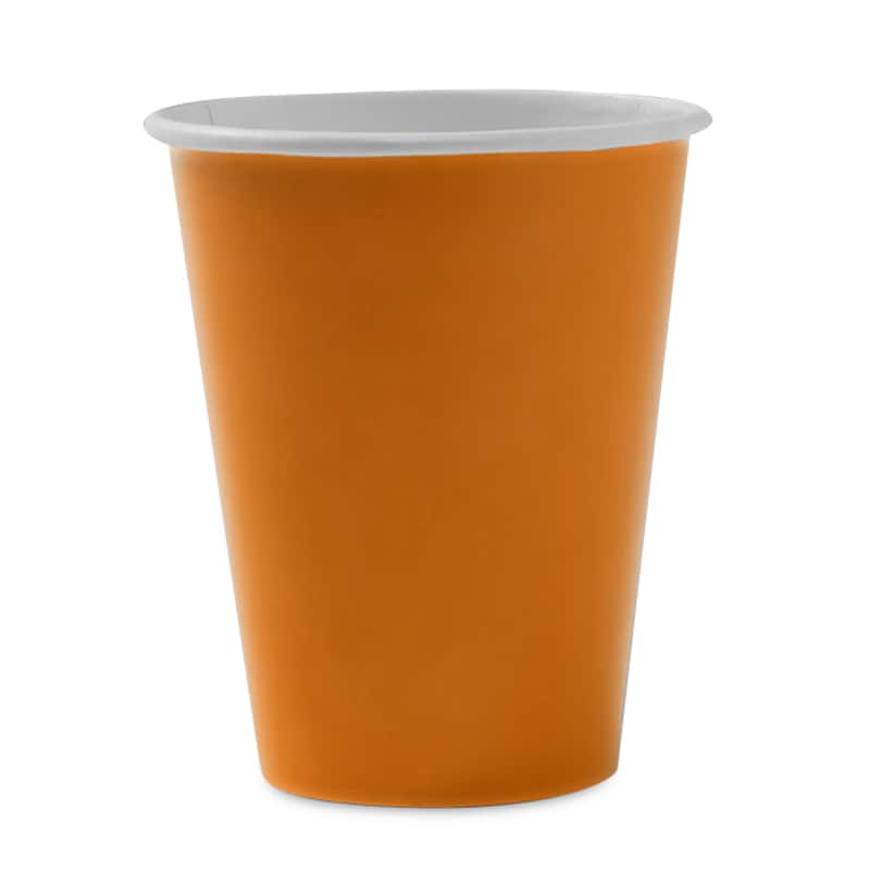 Colored 8ea - 9 Oz Orange Hot/Cold Paper Cup - Household Supplies by Paper Mart 96630240