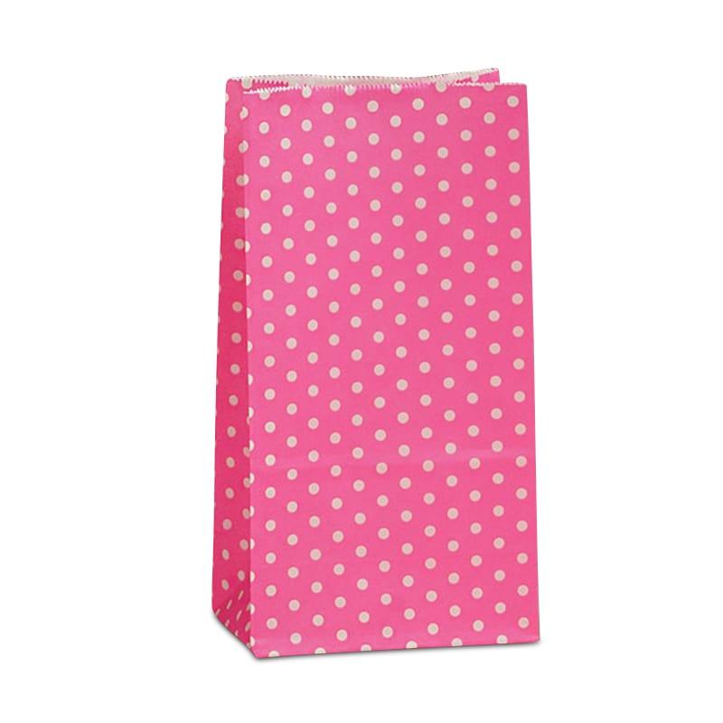 "Hot Pink Mini Polka Dot SOS Bags - 3-5/8 X 2-1/4 X 7 - Gusset - 2 1/4"""" - Quantity: 2000 - Grocery Bags - Style: Mini Polka Dots by Paper Mart"" 1144233"