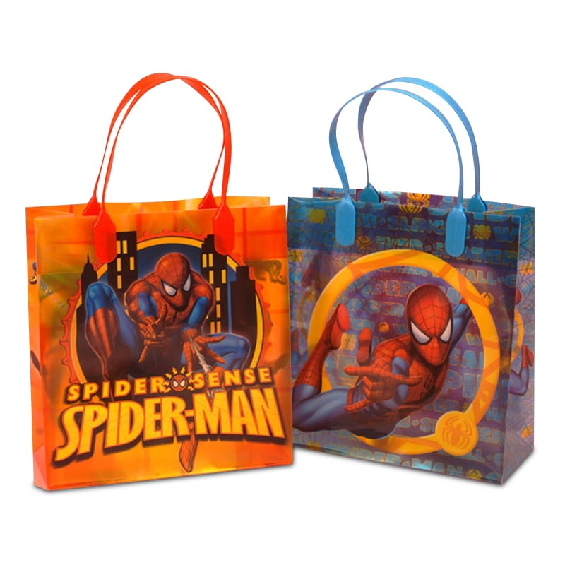 "Spiderman Gift Bags Plastic Gusset - 3 1/8"""" - Quantity: 12 - Plastic Eurototes - Type: Assorted Width: 7 1/2"""" Height/Depth: 7 7/8"""" by Paper Mart"" 79600252S"