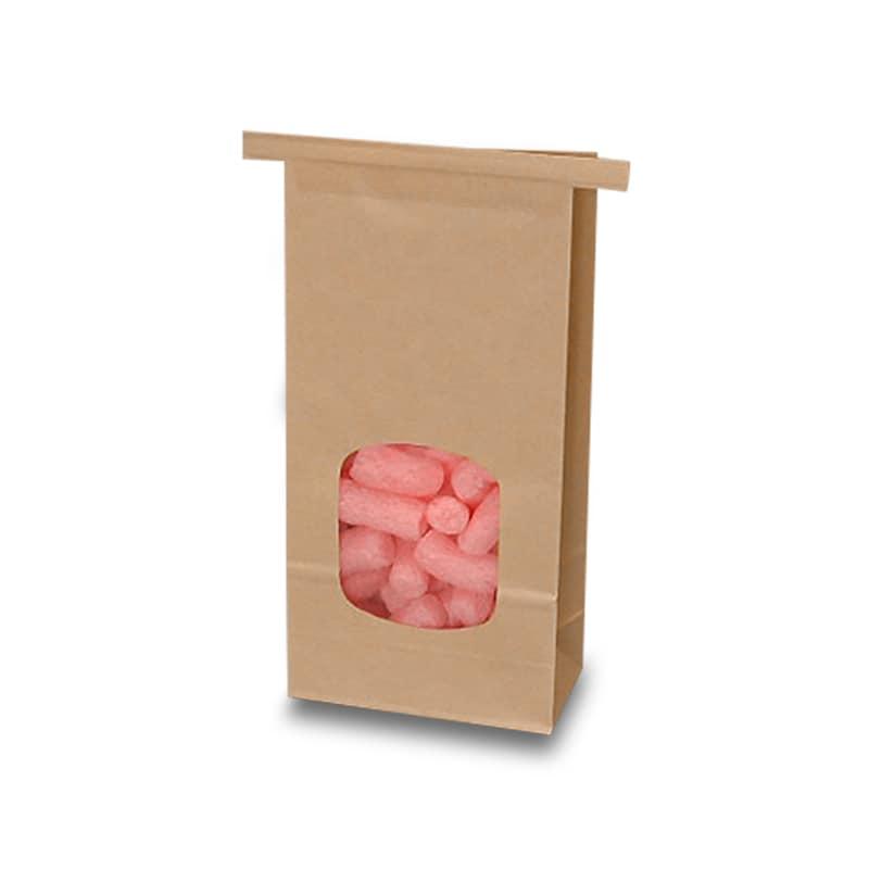 "Kraft Window Tin Tie Bags - 4-3/4"""" X 2-1/2"""" X 9-1/2"""" - Polypropylene / Cellophane - Quantity: 100 - Coffee Bags by Paper Mart"" 7410220P"