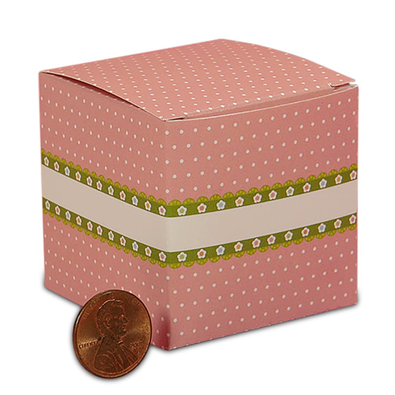 """Cardboard Pink Polka Dots Mini Gift Boxes 2"""""""" X 2"""""""" X 2"""""""" - Colored Gift Boxes by Paper Mart"""" 4190206P"""