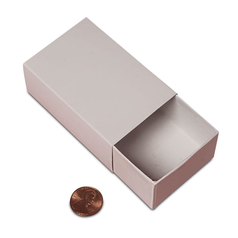 Cardboard Bulk White Slider Boxes - High Wall Boxes by Paper Mart - Type: 2 Piece Width: 2 1/16 Height/Depth: 1 1/4 Length: 3 1/8 8227492