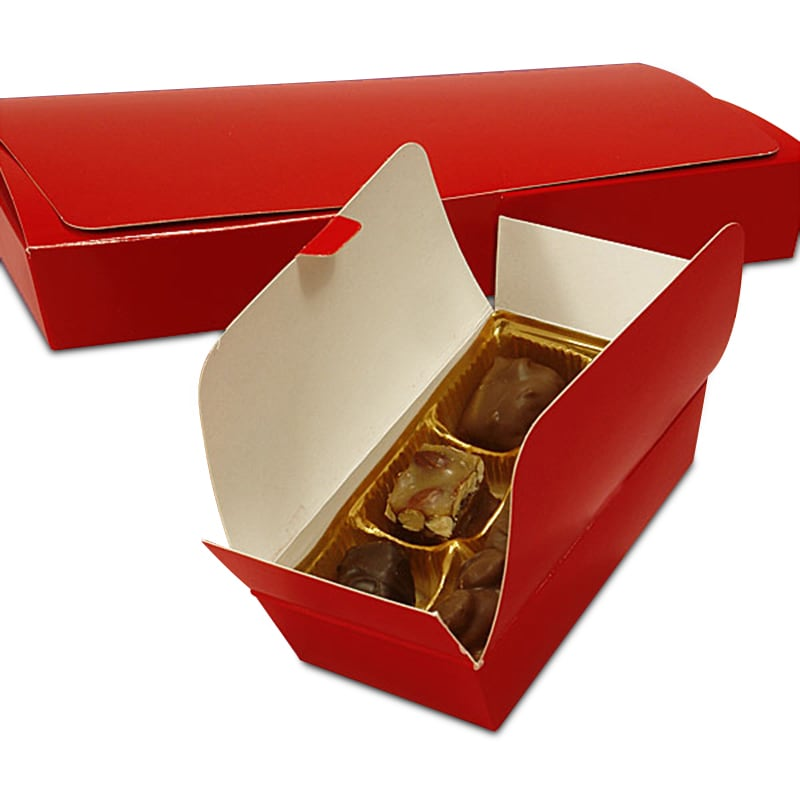 Red Ballotin Candy Boxes 4 1/8 - 1/2 X 2 - Quantity: 50 - Candy Packaging - Type: 1-Layer by Paper Mart 84311430