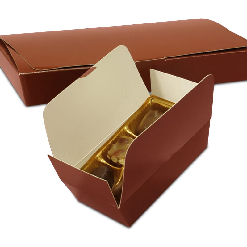 "Brown Ballotin Candy Boxes - Quantity: 50 - Candy Packaging - Type: 2-Layer Width: 2 5/8"""" Height/Depth: 1 7/8"""" Length: 4 1/8"""" by Paper Mart"" 84312455"