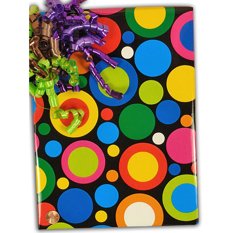 """Glass 30"""""""" X 15' Colorful Circles Gift Wrap - Gift Wrapping Paper by Paper Mart"""" 4215E7680"""