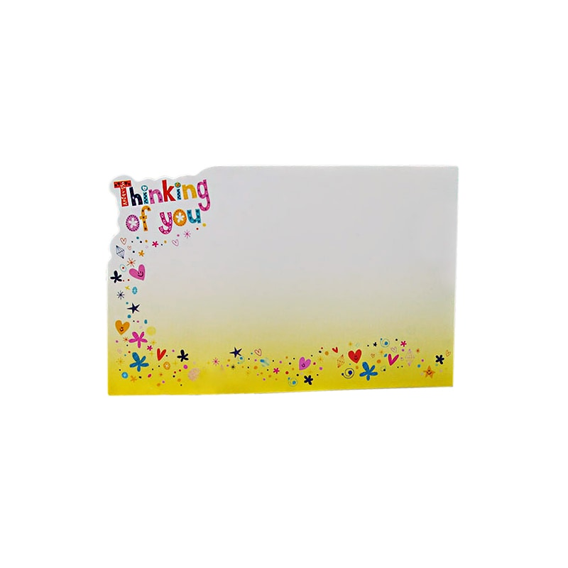 Thinking Of You W/Die Cut Edge-Pkg - 3-1/2 X 2-1/4 - Quantity: 50 - Florist Supplies by Paper Mart 39000481P