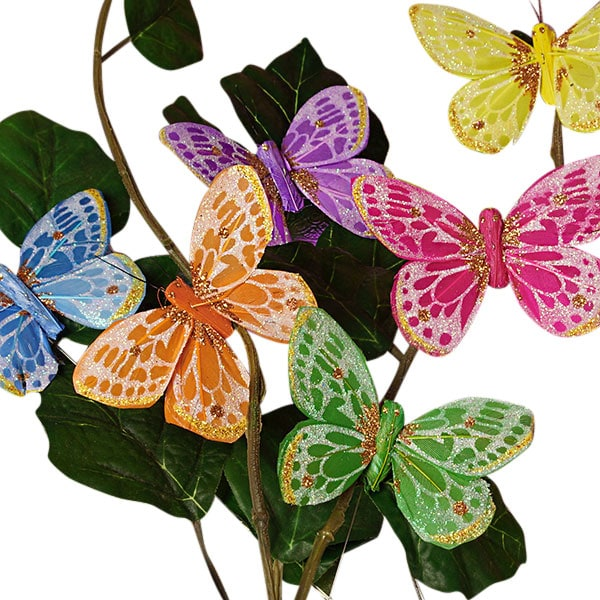 """3"""""""" Dorie Assorted Feather Butterflies Feathers - Quantity: 12 - Embellishments Width: 3"""""""" by Paper Mart"""" 60901152"""