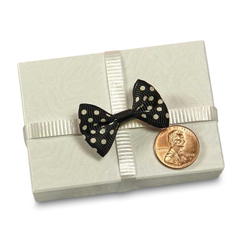 """Grosgrain Black Small Polka Dot Bow Ties 1-3/8"""""""" - Embellishments by Paper Mart Width: 7/8"""""""" Length: 1 3/8"""""""""""" 6020210"""