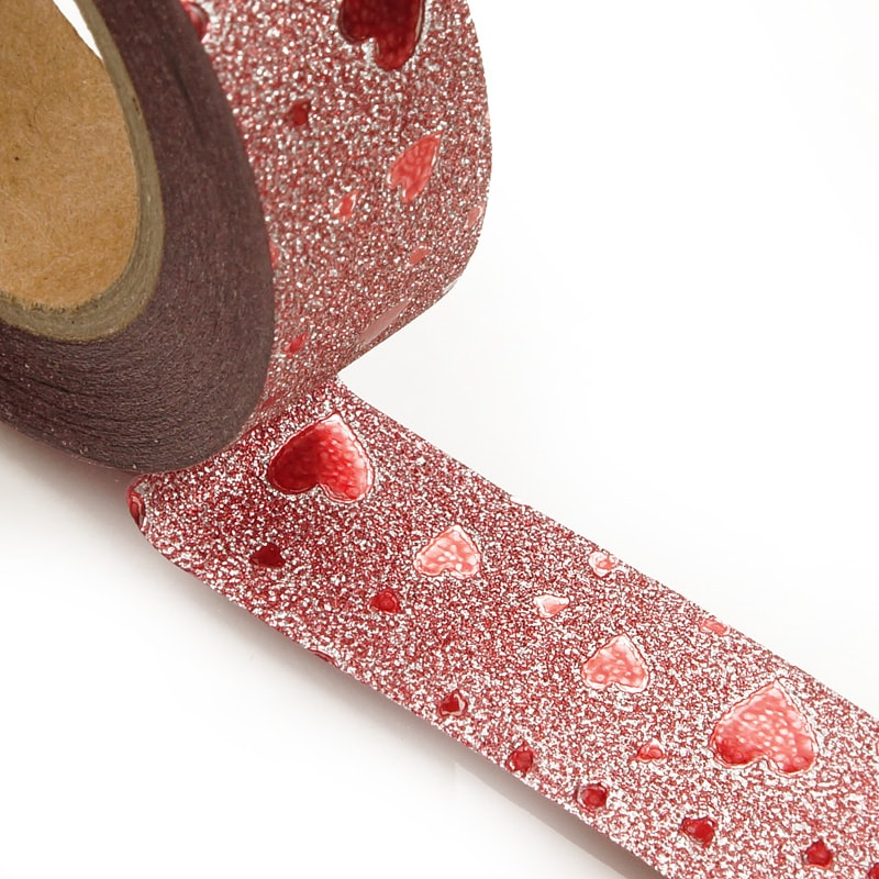 """Colored 9/16"""""""" X 10 Yards Red Metallic Sands Heart Washi Tape - Shipping Supplies by Paper Mart"""" 34350301"""