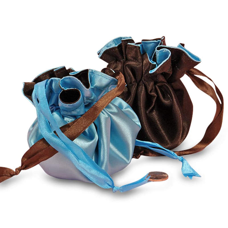 "9"" Reversible Satin Pouches With Ribbon Drawstrings"