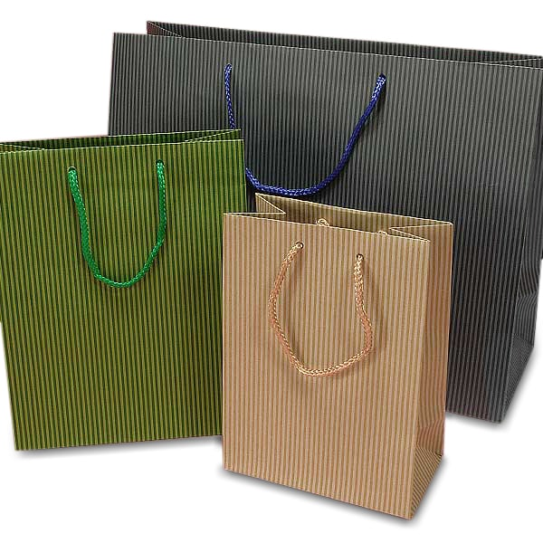 Wide Pinstripe Paper Euro Totes