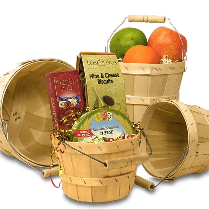 Wood Slat Round Baskets With Handle