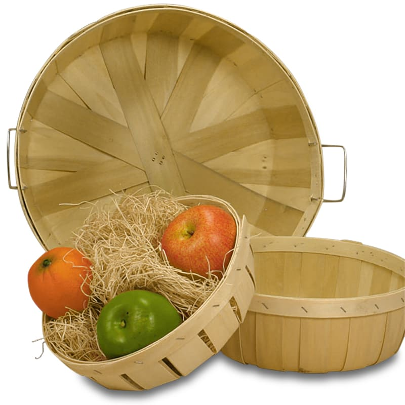 Shallow Round Natural Bread Baskets