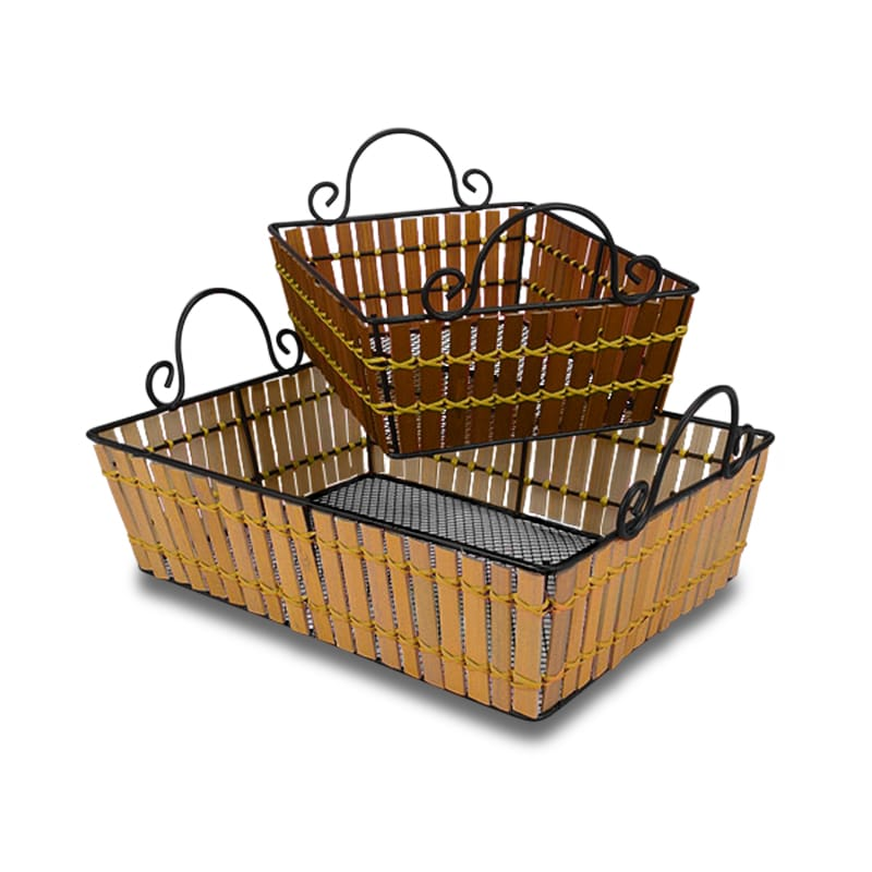 Bamboo Metal Frame Rectangular Baskets