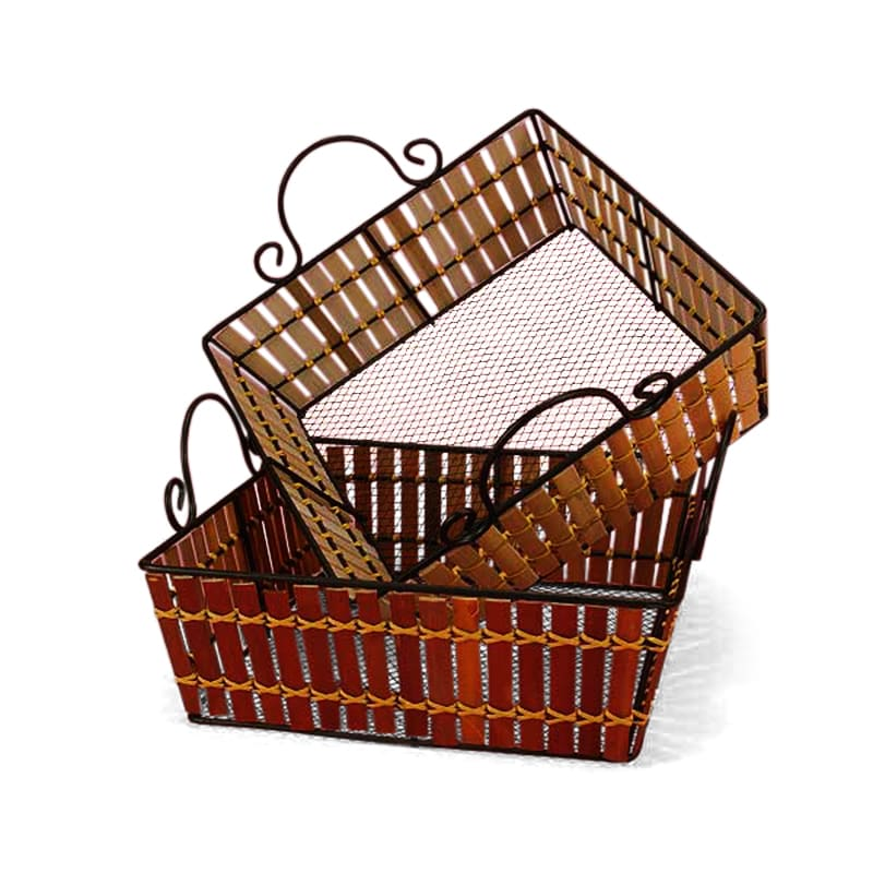 Bamboo Metal Frame Square Baskets
