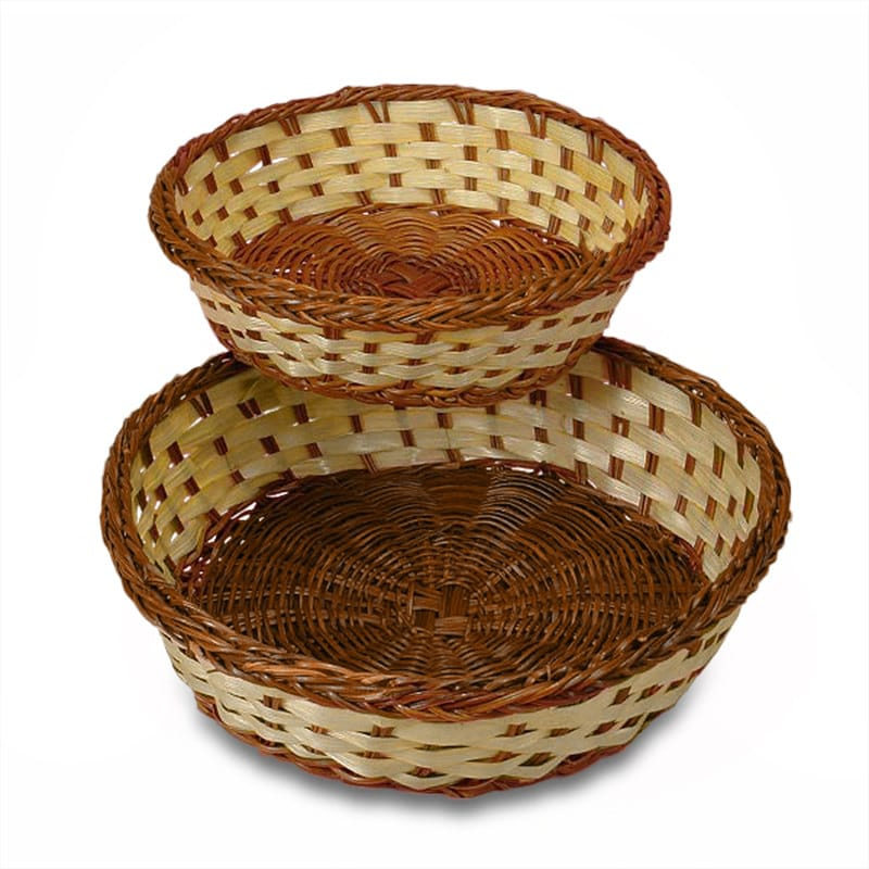 Two-Tone Bamboo Round Baskets