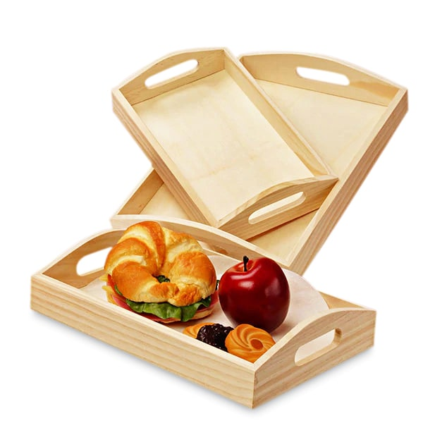 Wooden Curved Top Slot Handle Tray Sets