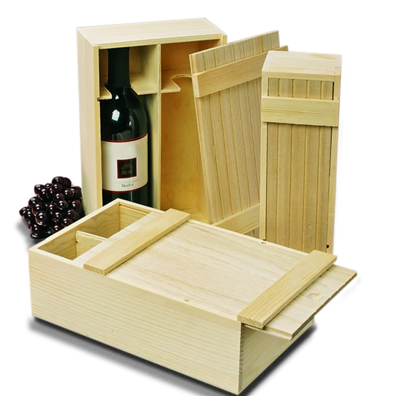 Pine Slat Top Wine Wood Box