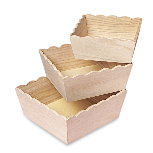 Paulownia Wood Scalloped Square Tray Set