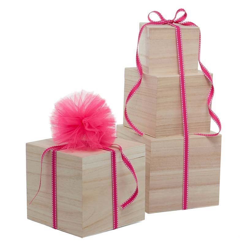 Natural Wood Cube Box Set