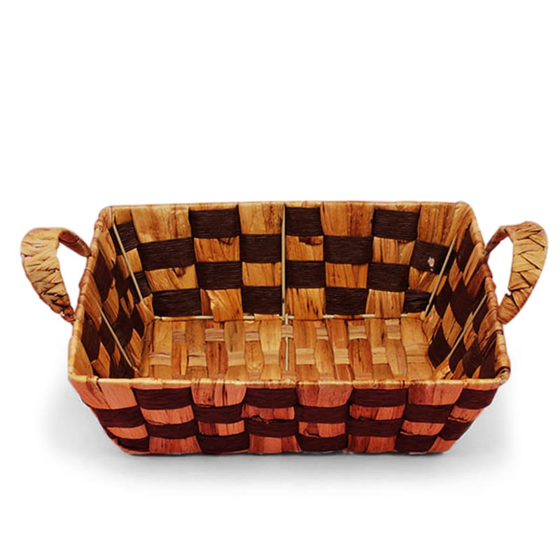 Two Tone Rush Woven Baskets With Handle