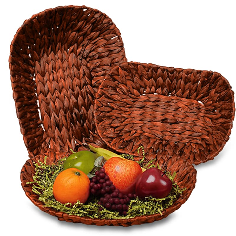 Redwood Stained Seagrass Oval Basket Trays
