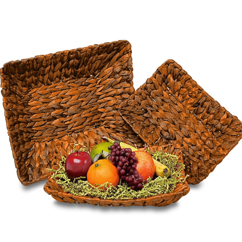 Redwood Stained Seagrass Rectangular Basket Trays