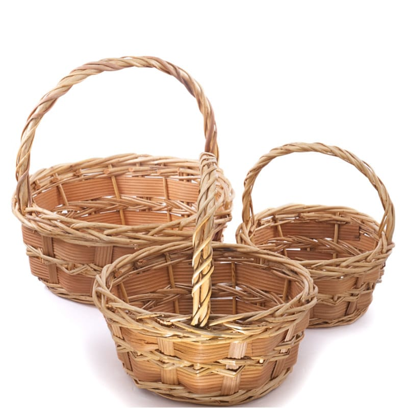 Baskets with handles wholesale easter baskets natural willow gibson round basket set negle Choice Image