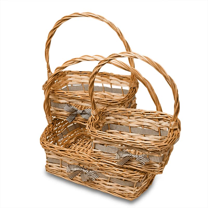 Chartry 3pc Willow Rectangular Basket Set
