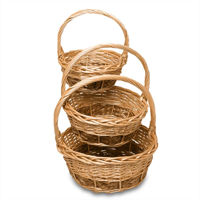 Natural Willow Old Vernon Round Basket Set
