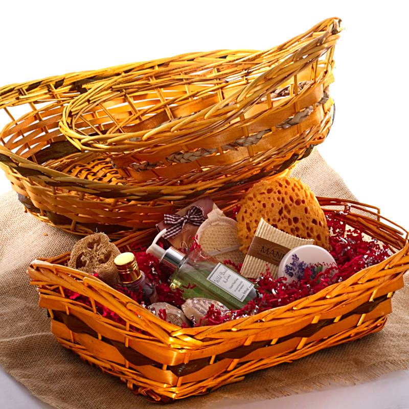 Two-Tone Willow Basket Trays Assorted Trims