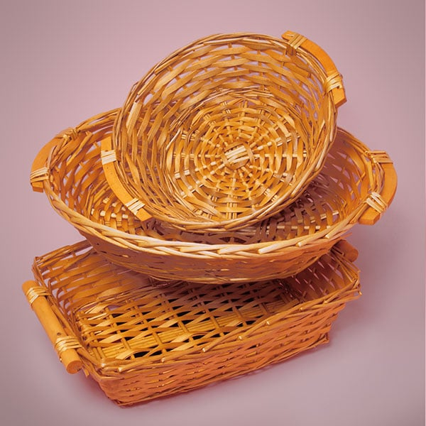 Classic Willow Basket Trays With Wood Handles