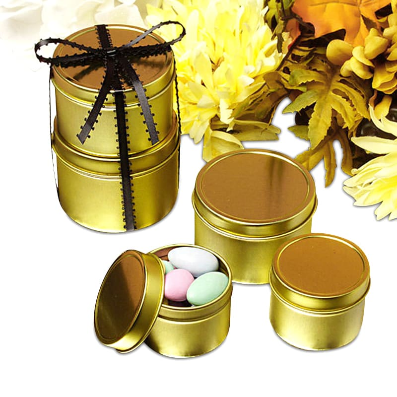 Gold Deep Round Tin Cans