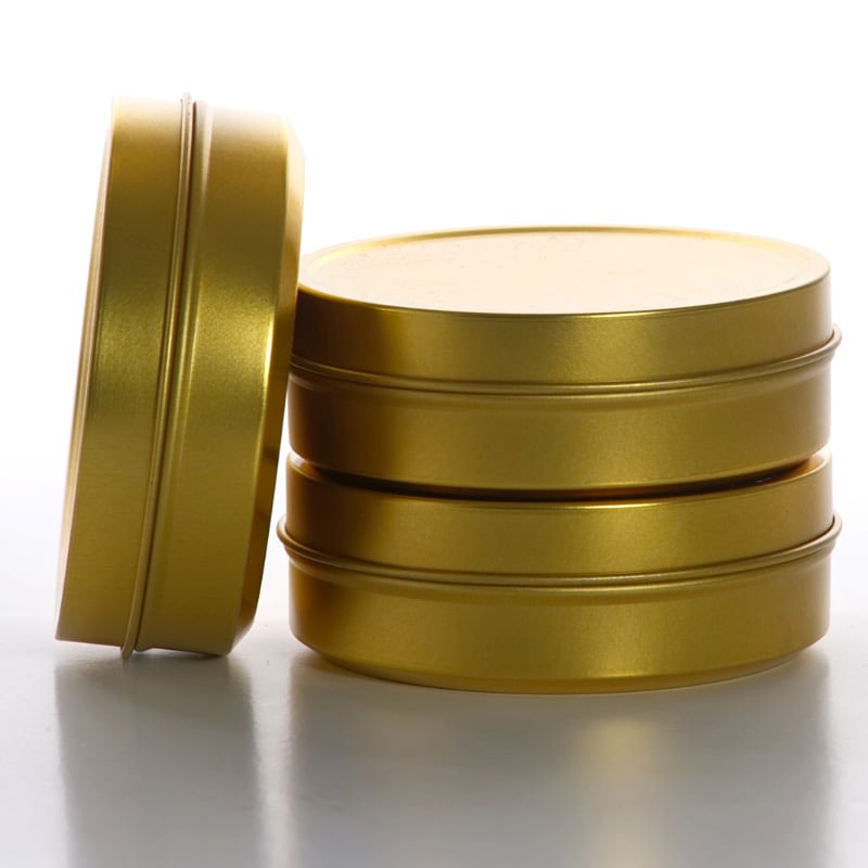 Stackable Gold Shallow Round Tin Cans