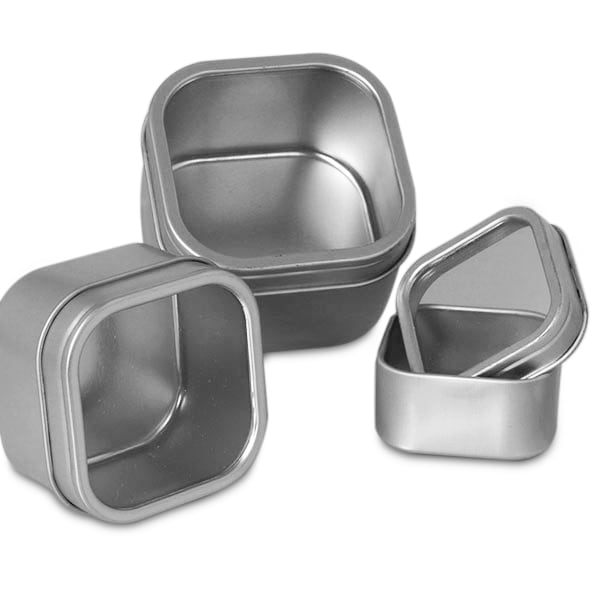 Windowed Square Tin Cans