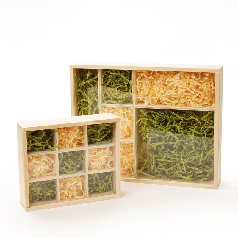 Natural Pine Wood 9 Section Trays With Clear Sliding Top