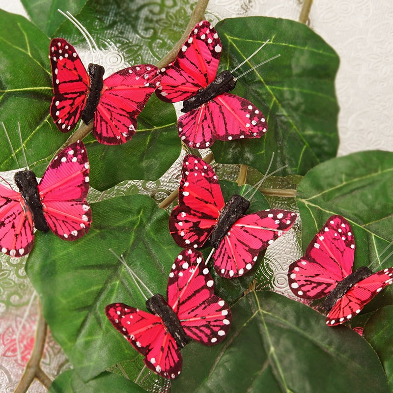 "1-3/4"" Red Feather Monarch Butterfly"